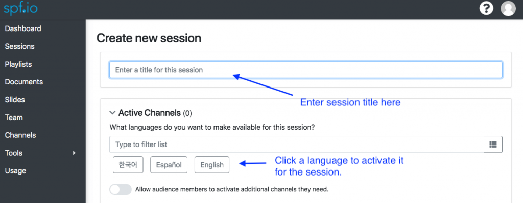 Create Session - screenshot of where to enter session title and enable languages