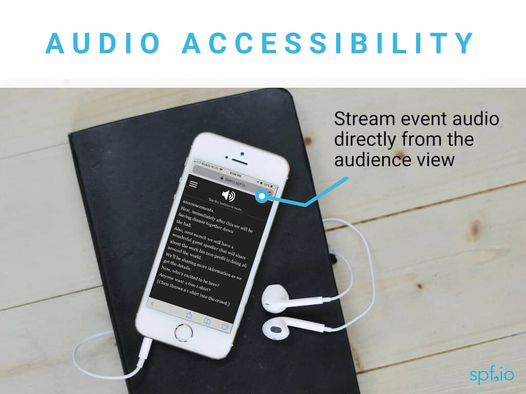 Audio accessibility - stream event audio directly through the audience view