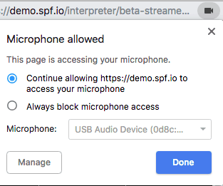 Click on the camera icon in the address bar to confirm the right microphone input is selected