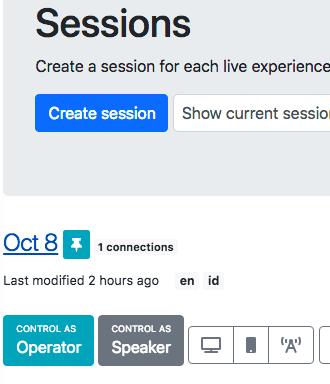 Screenshot of Sessions list