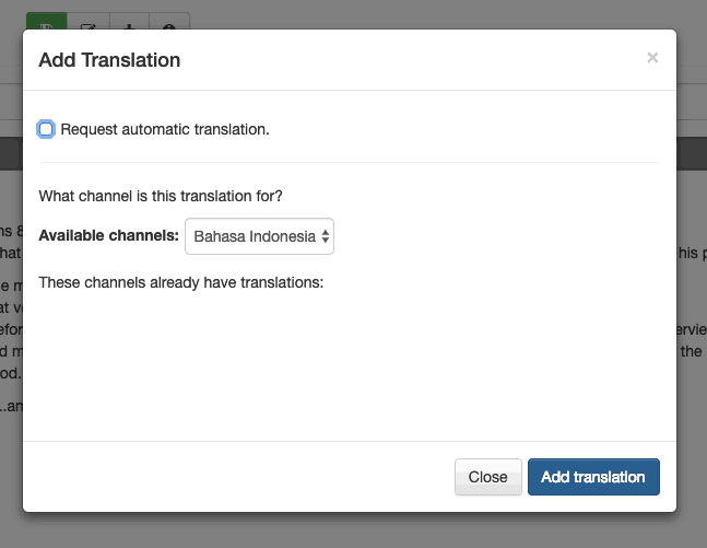 "Add translation modal with ""Request automatic translation"" unchecked"