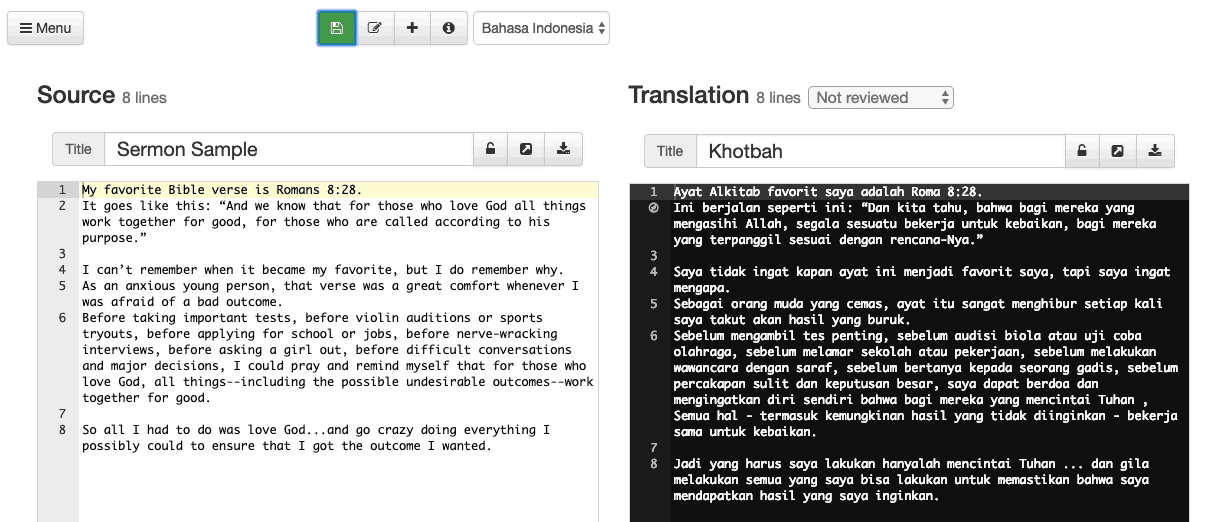 Side-by-side view of source document and translation